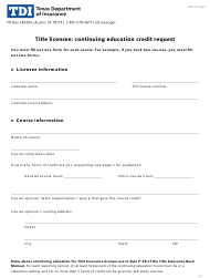 """Form FINT22 """"Title Licensee: Continuing Education Credit Request"""" - Texas"""