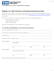 """Form FINT07 """"Register as a Title Insurance Continuing Education Provider"""" - Texas"""