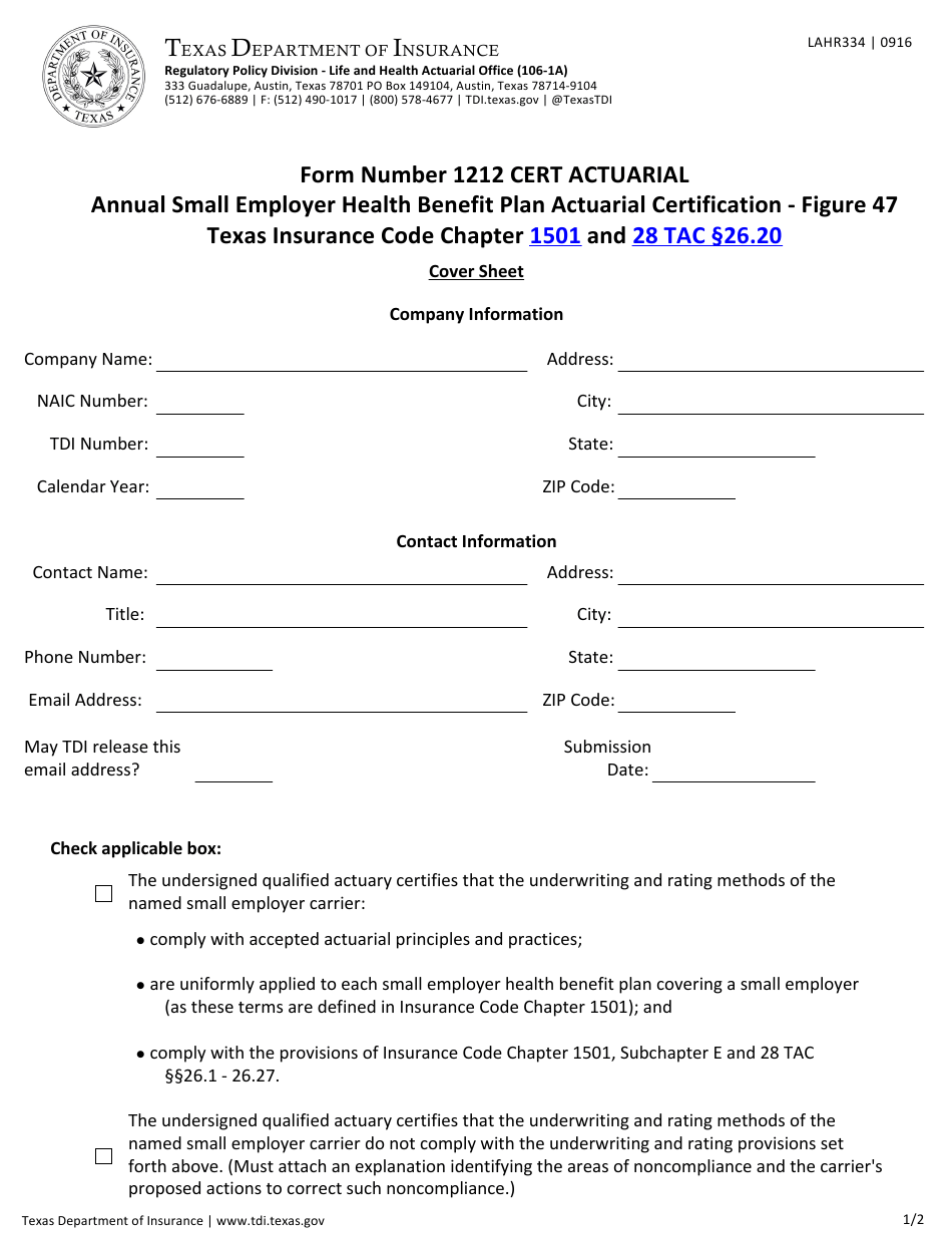 Form 334 Download Fillable PDF or Fill Online Form Number ...