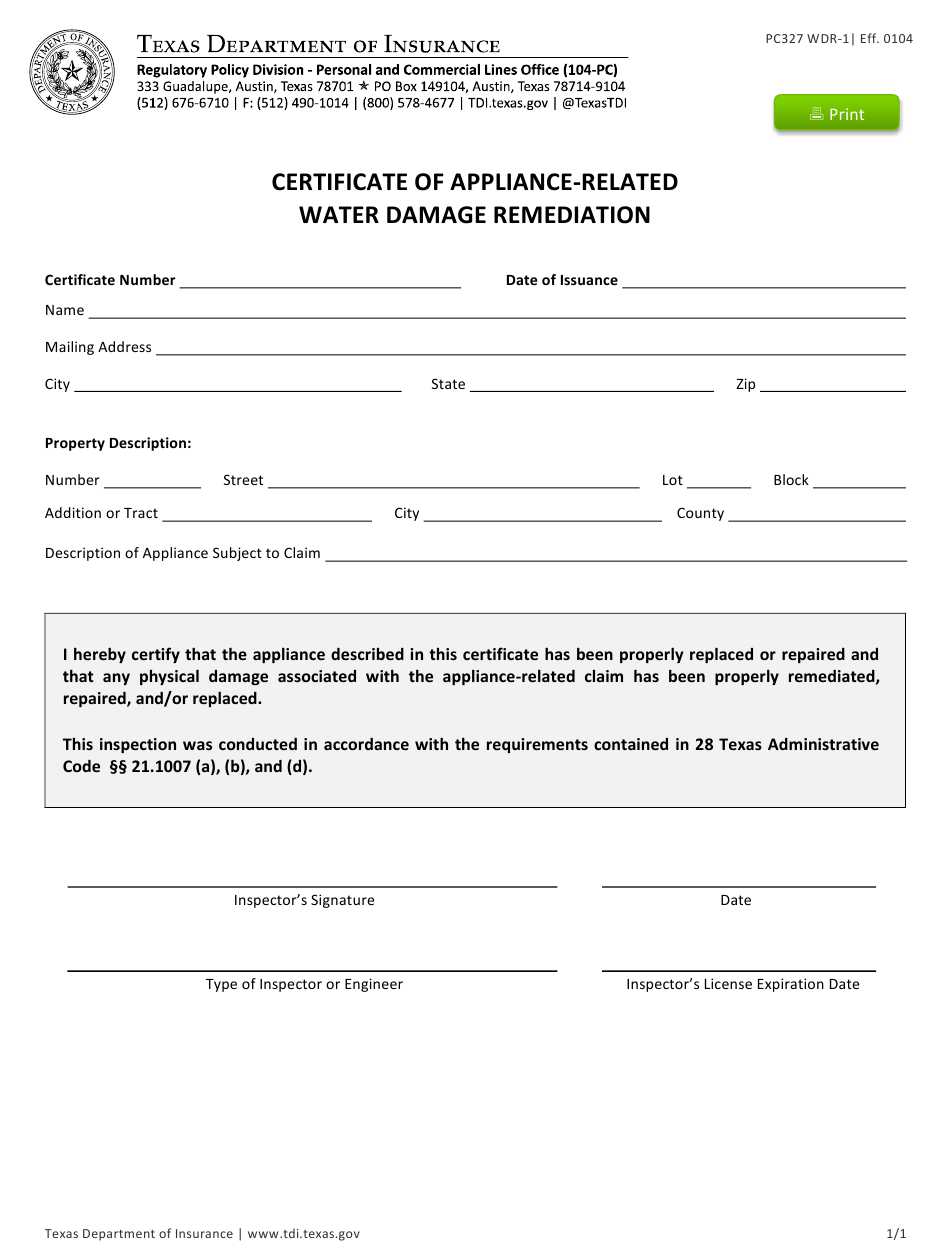 water certificate damage form remediation wdr appliance templateroller texas related fillable fill template