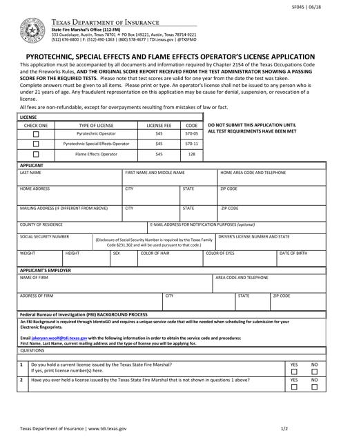 Form SF045  Printable Pdf