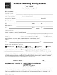 "Form PWD348 ""Private Bird Hunting Area Application"" - Texas"