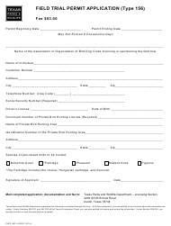 """Form PWD883 """"Field Trial Permit Application (Type 156)"""" - Texas"""