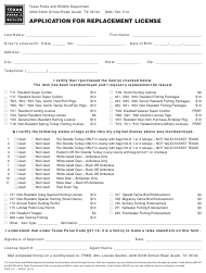 """Form PWD341 """"Application for Replacement License"""" - Texas"""