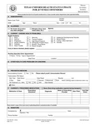 "Form TJJD-GEN-401 ""Texas Uniform Health Status Update for Juvenile Offenders"" - Texas"