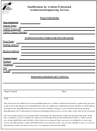 "Form AVN-550 ""Qualifications for Aviation Professional Architectural/Engineering Services"" - Texas"