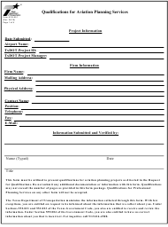 "Form AVN-551 ""Qualifications for Aviation Planning Services"" - Texas"