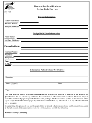 "Form AVN-552 ""Request for Qualifications Design Build Services"" - Texas"