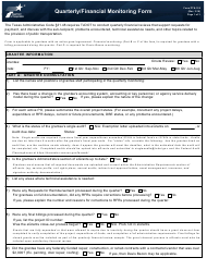 "Form PTN-126 ""Quarterly/Financial Monitoring Form"" - Texas"