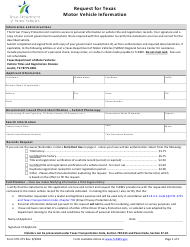 "Form VTR-275 ""Request for Texas Motor Vehicle Information"" - Texas"