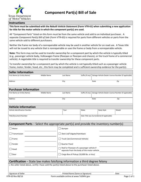 Form VTR-63  Printable Pdf