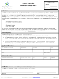 "Form VTR-67 ""Application for Permit License Plate"" - Texas"