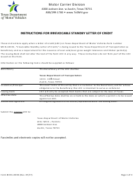 "Form MCD-LOC01 ""Irrevocable Standby Letter of Credit"" - Texas"