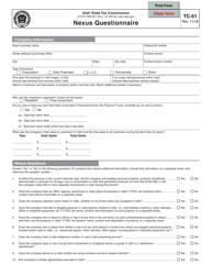 """Form TC-51 """"Nexus Questionnaire"""" - Utah"""