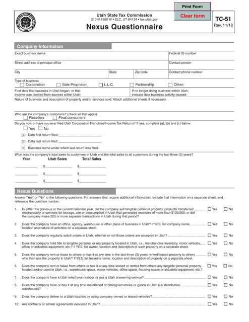 Form TC-51  Printable Pdf
