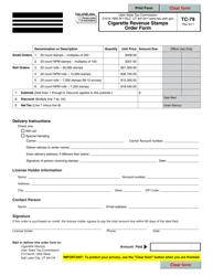 """Form TC-79 """"Cigarette Revenue Stamps Order Form"""" - Utah"""