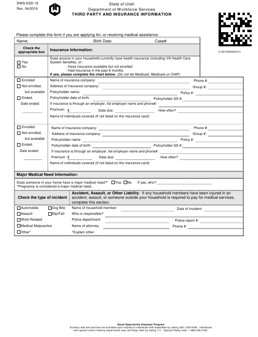 Form DWS-ESD19  Printable Pdf