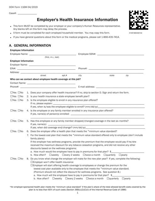 DOH Form 116M  Printable Pdf