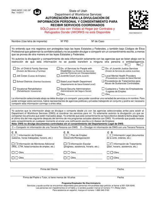 Formulario DWS-WDD115C-SP  Printable Pdf