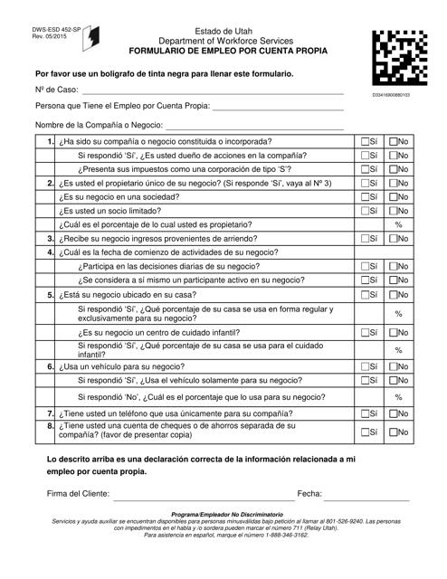 Formulario DWS-ESD452-SP  Printable Pdf