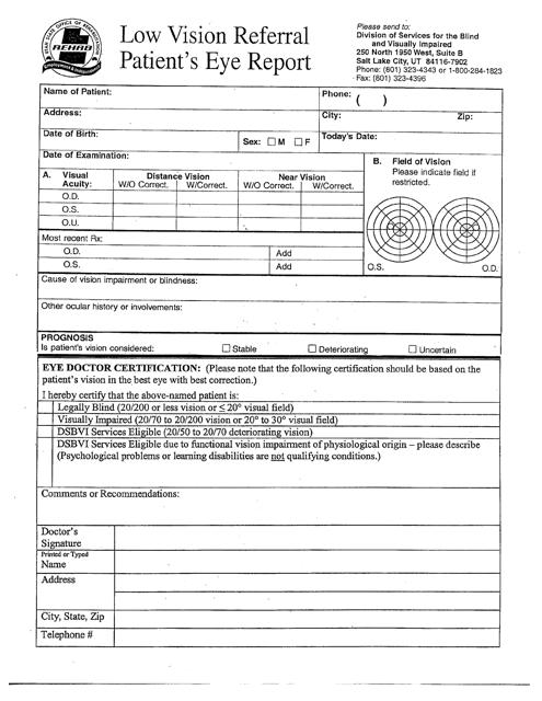 """Low Vision Referral - Patient's Eye Report"" - Utah Download Pdf"