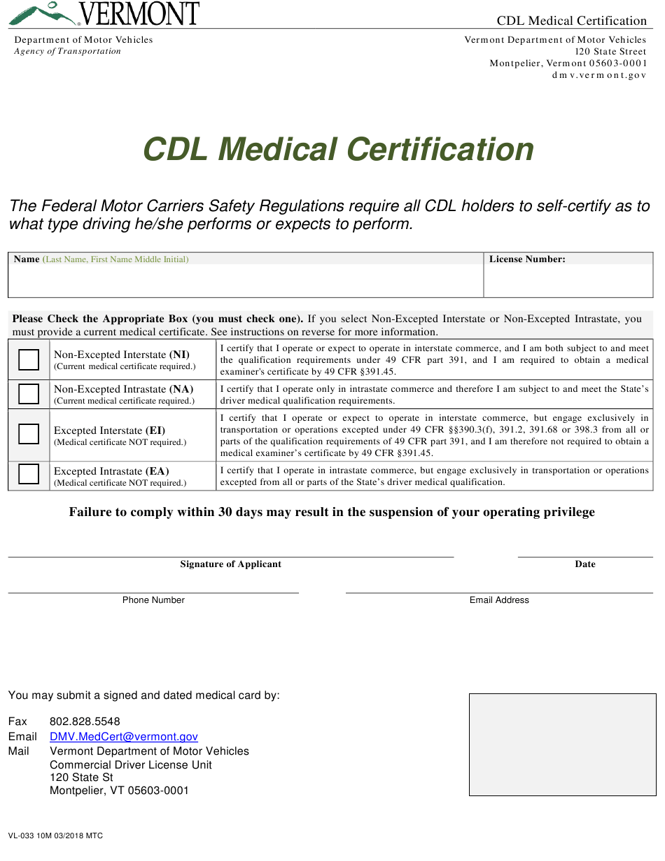 cdl medical form certification vermont vl templateroller