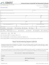"""Form VL-56 """"Commercial Driver License Skill Test Scheduling Fee Receipt"""" - Vermont"""
