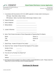 "Form CVO-06 ""Diesel Dealer/Distributor License Application"" - Vermont"