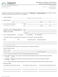 "Form Cvo-07 ""Application for Motor Fuel/Aviation Gasoline Distribution License"" - Vermont"