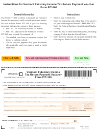 "VT Form FIT-160 ""Fiduciary Income Tax Return Payment Voucher"" - Vermont"