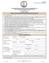 "Form 401 ""Bingo Caller Certificate of Registration Application"" - Virginia"