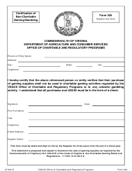"Form 304 ""Certification of Non-charitable Gaming/Gambling"" - Virginia"