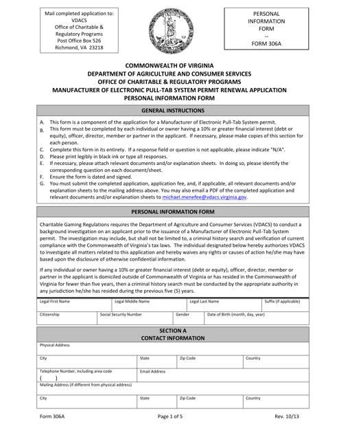 Form 306A Printable Pdf