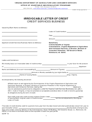 """Form OCRP-73 """"Irrevocable Letter of Credit - Credit Services Business"""" - Virginia"""