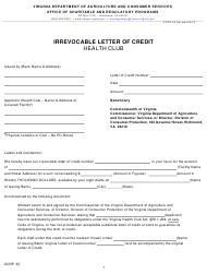 """Form OCRP-33 """"Irrevocable Letter of Credit - Health Club"""" - Virginia"""