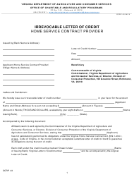 """Form OCRP-43 (803) """"Home Service Contract Provider Line of Credit Form"""" - Virginia"""