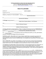 "Form OCRP-34 ""Health Club Bond Template"" - Virginia"