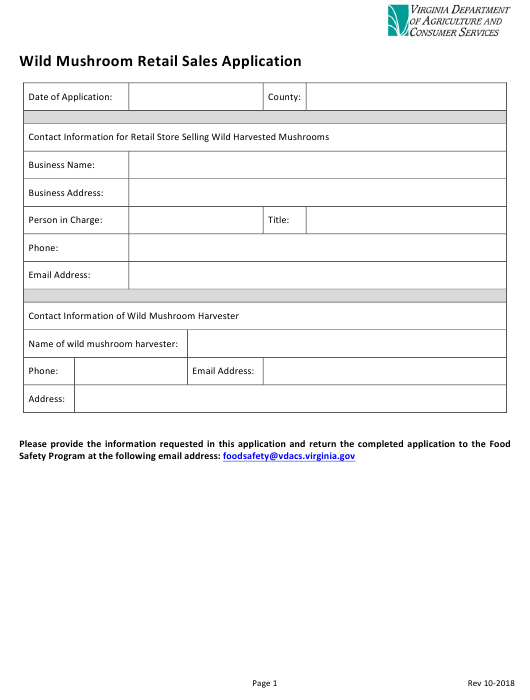 """Wild Mushroom Retail Sales Application Form"" - Virginia Download Pdf"