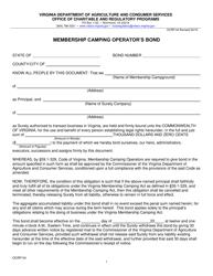 "Form OCRP-54 ""Membership Camping Operator's Bond"" - Virginia"