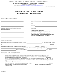 """Form OCRP-53 """"Irrevocable Letter of Credit for Membership Campground Template"""" - Virginia"""