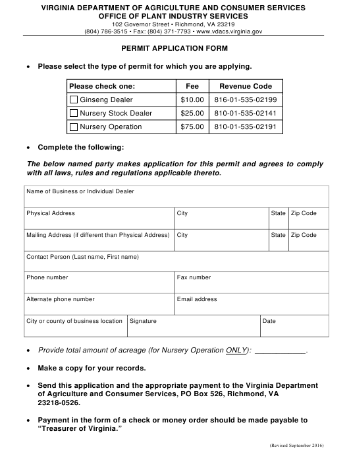 """Permit Application Form"" - Virginia Download Pdf"