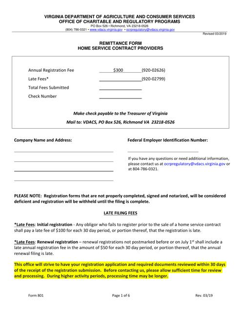 Form 801 Printable Pdf