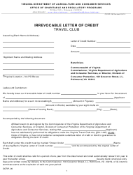 """Form OCRP-26 """"Travel Club Irrevocable Letter of Credit"""" - Virginia"""