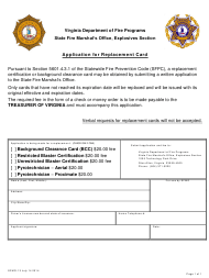 "Form SFMO-13 ""Application for Replacement Card"" - Virginia"