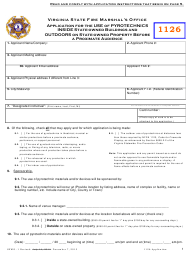 "Form SFMO-1 ""Application for the Use of Pyrotechnics Inside State-Owned Buildings and Outdoors on State-Owned Property Before a Proximate Audience"" - Virginia"