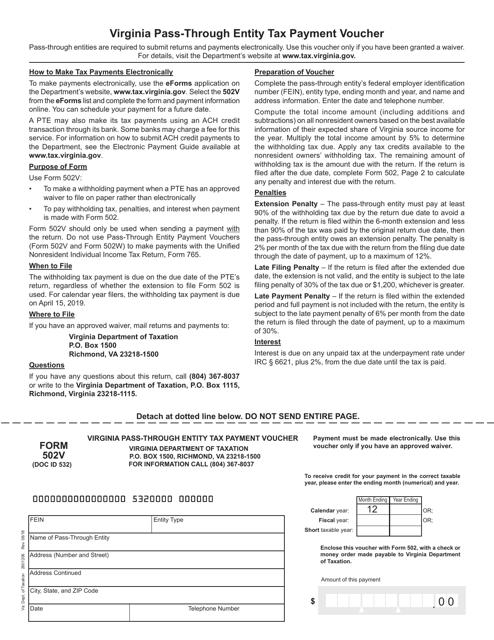 Form 502V Printable Pdf