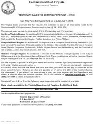 Form ST-50 Temporary Sales Tax Certificate/Return - Virginia