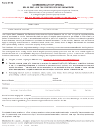 Form ST-10 Exemption Certificate for Certain Purchases by Virginia Dealers - Virginia