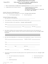 """Form Np-1 """"Sales and Use Tax Exemption Application for Nonprofit Organizations"""" - Virginia"""