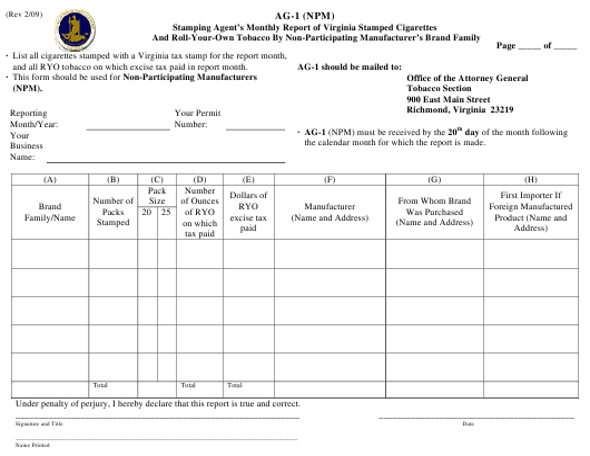 Form AG-1  Printable Pdf